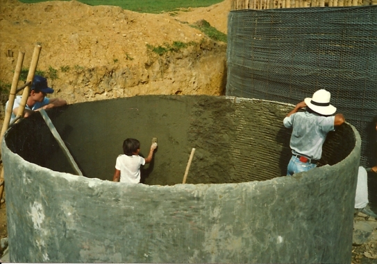 Plastering The Inside Of The Water Treatment Tank
